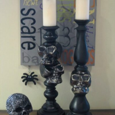Skull Candlesticks – Cheap and Easy DIY Halloween Decorations
