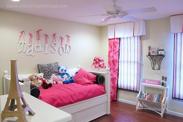 pink and zebra Girl's Bedroom