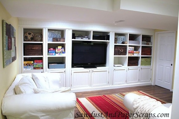 TV For Girls Room http://sawdustgirl.com/2011/02/16/house-tour-basement-tv-room/