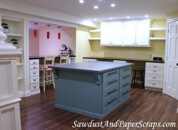 Craft room with DIY Built ins