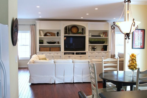Living room with white build in entertainment center for Living room entertainment centers