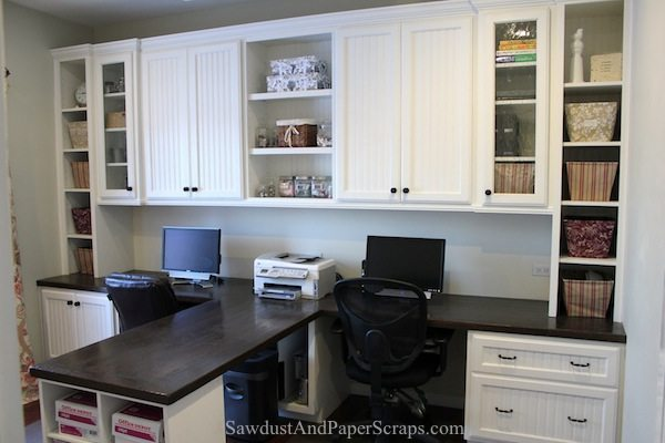Home office wood countertops white built ins