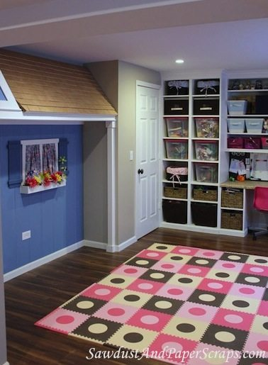 playroom with indoor playhouse