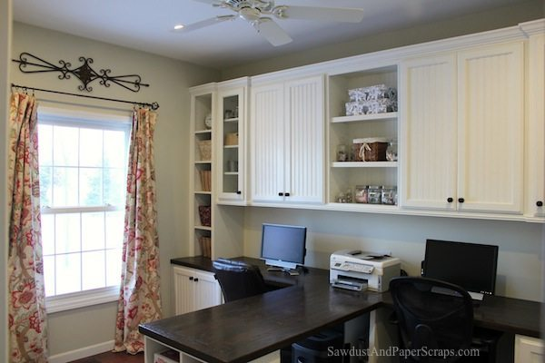 home office with built in work stations