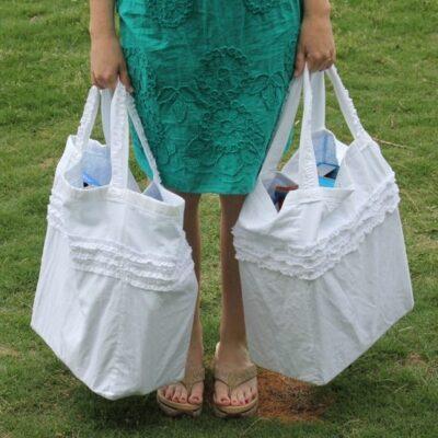 Reversible, Ruffled, Reusable Grocery Bags