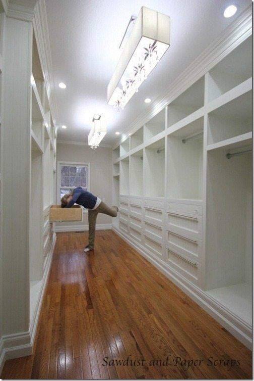 white built-in master closet