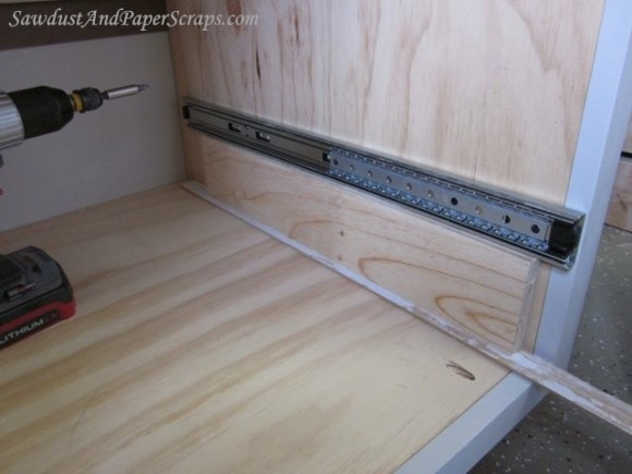 Drawer slide installing drawer slides for Adding drawers to existing kitchen cabinets