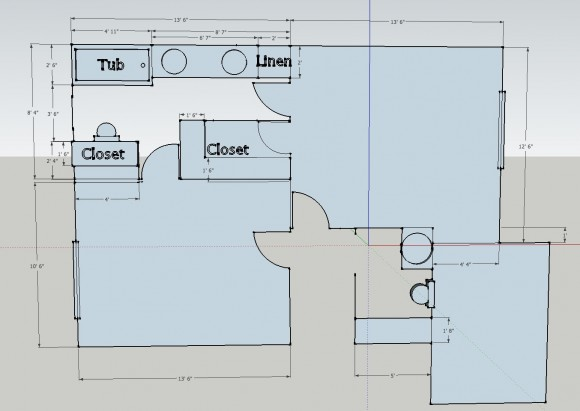 Not so jack and jill bathroom plan sawdust girl for Shared bathroom layout