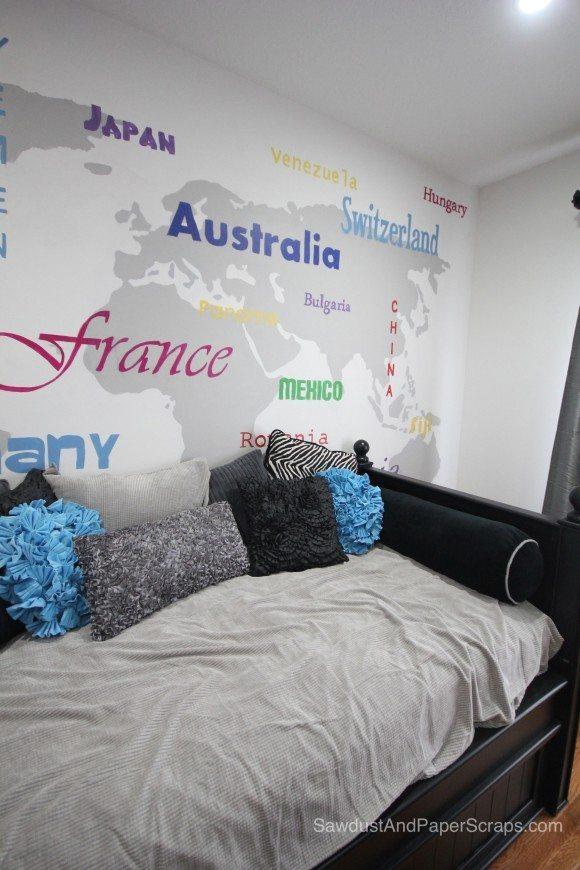 World Map Teen Bedroom Sawdust Amp Paper Scraps