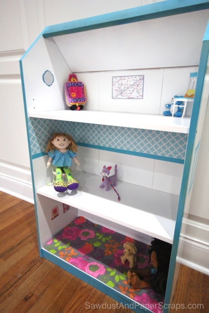Turn A Bookcase Into A Dollhouse Sawdust Amp Paper Scraps