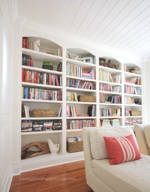 Library-with-White-Built-in-Bookshelves-10 Faux Books For Bookshelves