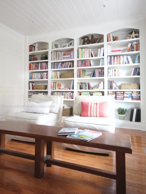 Library, bookshelves, styling