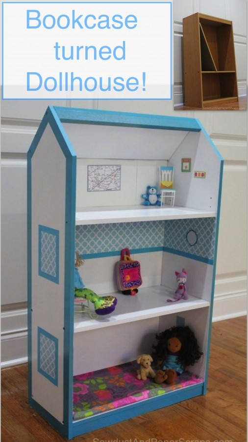 Turn a bookcase into a dollhouse sawdust paper scraps for Young house love dollhouse