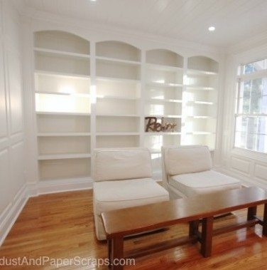 Library Built-ins and Wainscoting -White-built-ins
