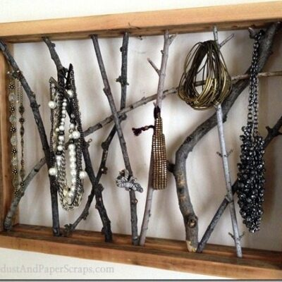 Framed Twig Jewelry Holder