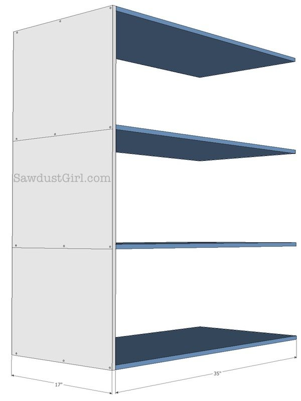 free plans- sliding storage shelves
