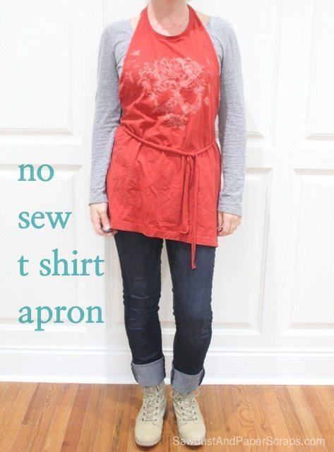 No Sew T Shirt Apron Tutorial Sawdust Girl 174
