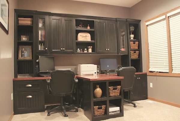 DIY Office With T Shaped Countertop And Builtin Cabinets Sawdust - T shaped desk with hutch