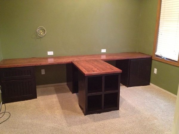 Office Countertop Options : DIY Office with T- shaped Countertop and Built-in Cabinets - Sawdust ...