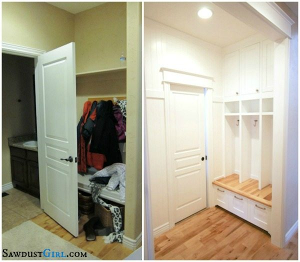 Before And After Merging Two Rooms Has Created A Super: Built-in Mudroom Lockers