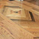 Wood floor design in powder room