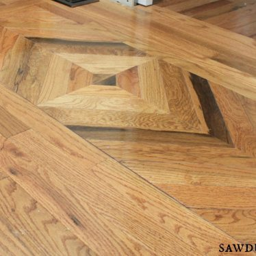 Wood floor design in powder room