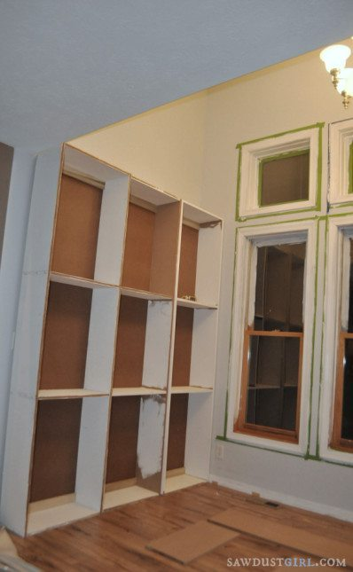 building DIY cabinets in library