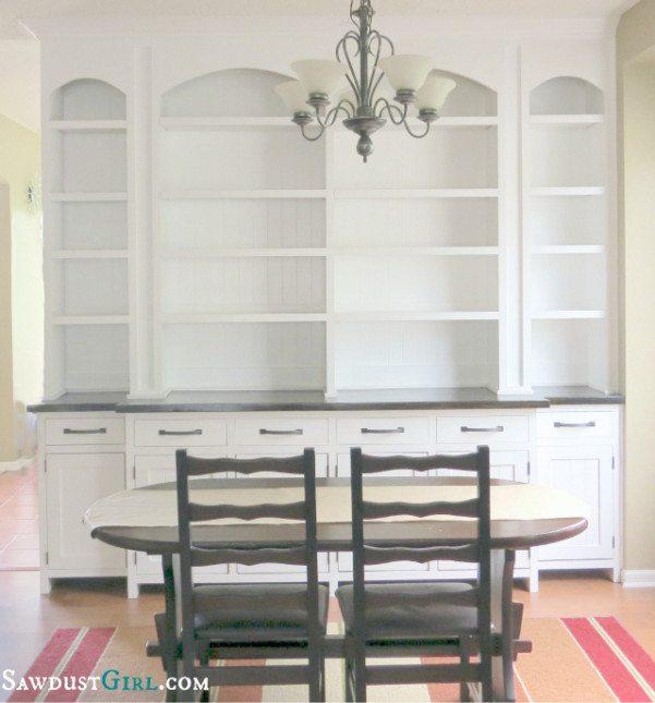 Built In Dining Room Buffet  SawdustGirl.com