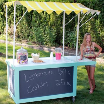 Spray Painted Lemonade Stand Canopy