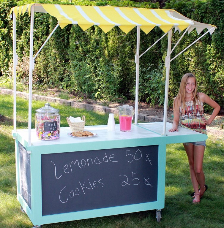Spray painted lemonade stand canopy sawdust girl for How to build a lemonade stand on wheels