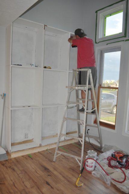 installing built in bookshelves