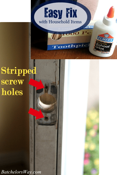 how to fix a stripped screw hole with household items sawdust girl. Black Bedroom Furniture Sets. Home Design Ideas