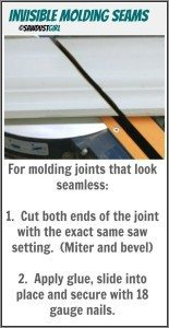 making invisible molding seams – scarf joint