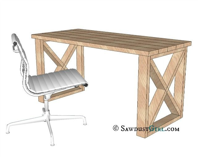 Leg Desk plans and tutorial from @Sawdust Girl.