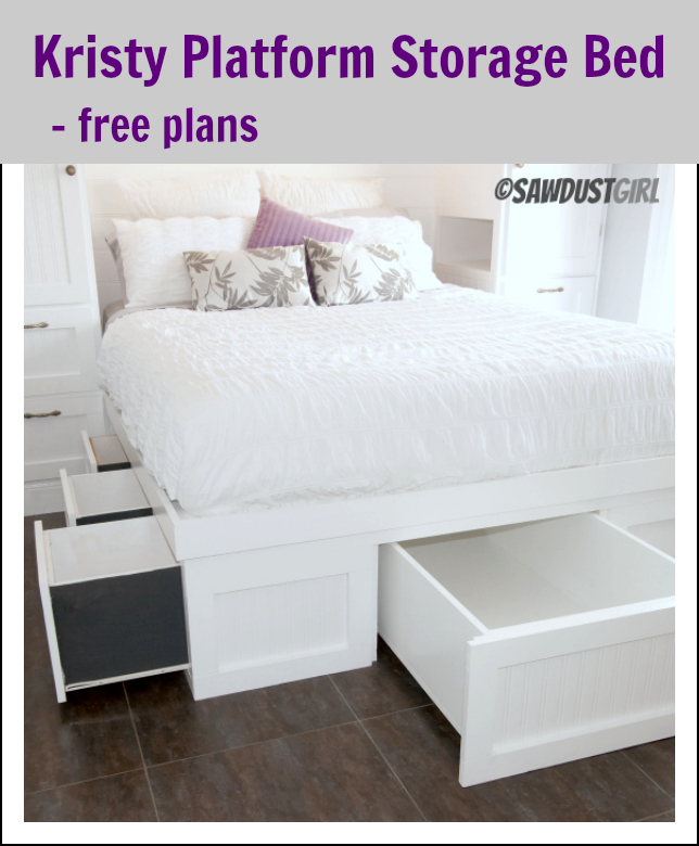 Queen Platform Bed With Storage Kristy Collection Sawdust Girl - Diy storage bed ideas