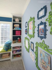 Built-in Playroom Window Seat and Storage Cabinets