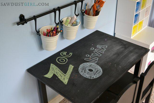 Chalkboard desk in playroom.  http://sawdustdiaries.com