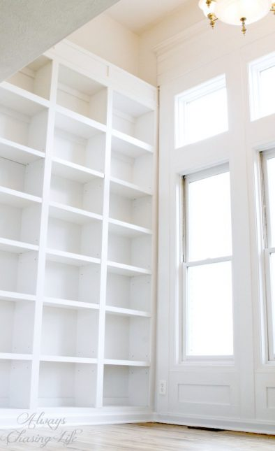 Super tall, built-in bookshelves.