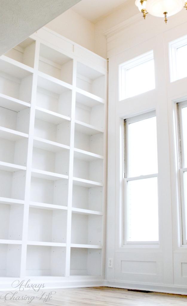 Super tall, built-in bookshelves.   https://sawdustdiaries.com