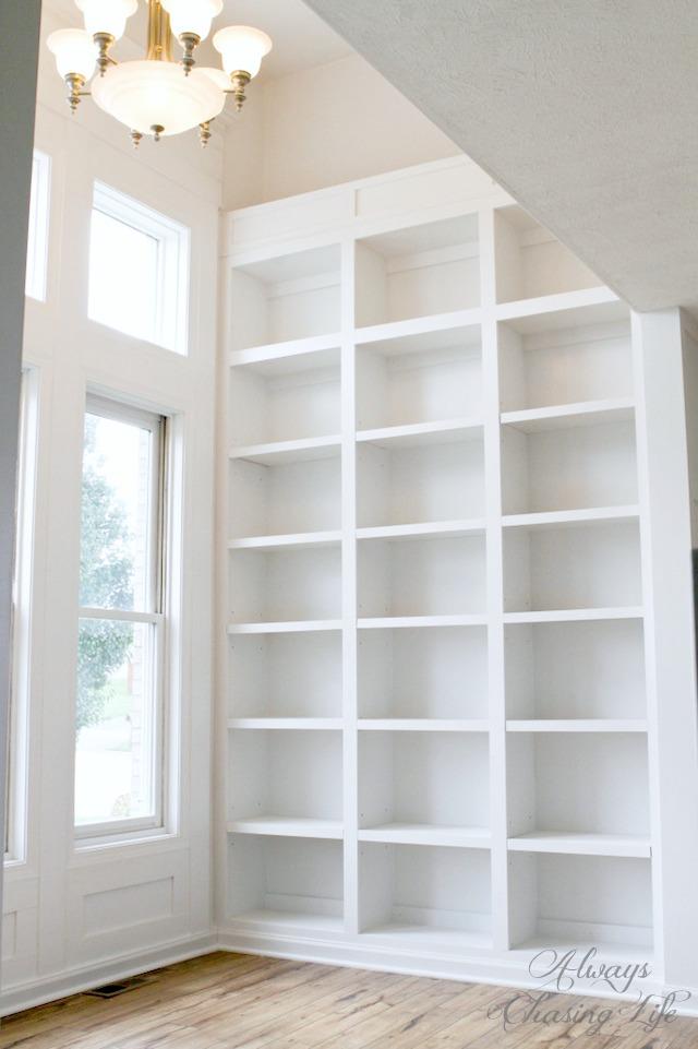 Built-in Library Bookshelves.   https://sawdustdiaries.com
