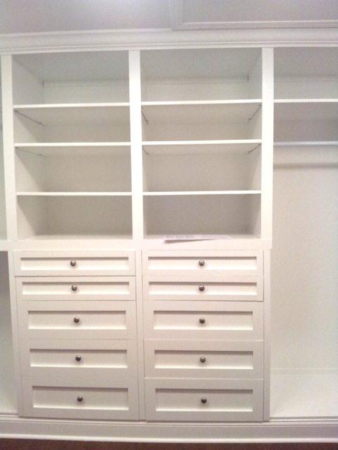 Custom cabinets in built-in closet
