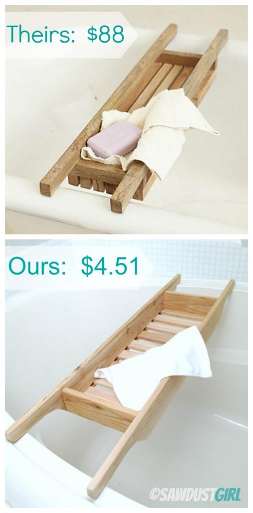 DIY Gift Ideas: Cedar Bathtub Caddy - Sawdust Girl®