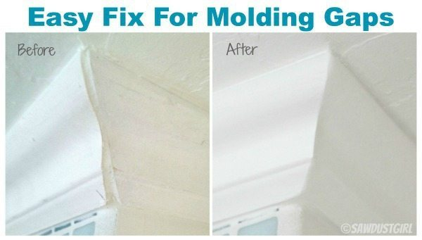 Use light weight spackle to fix molding gaps