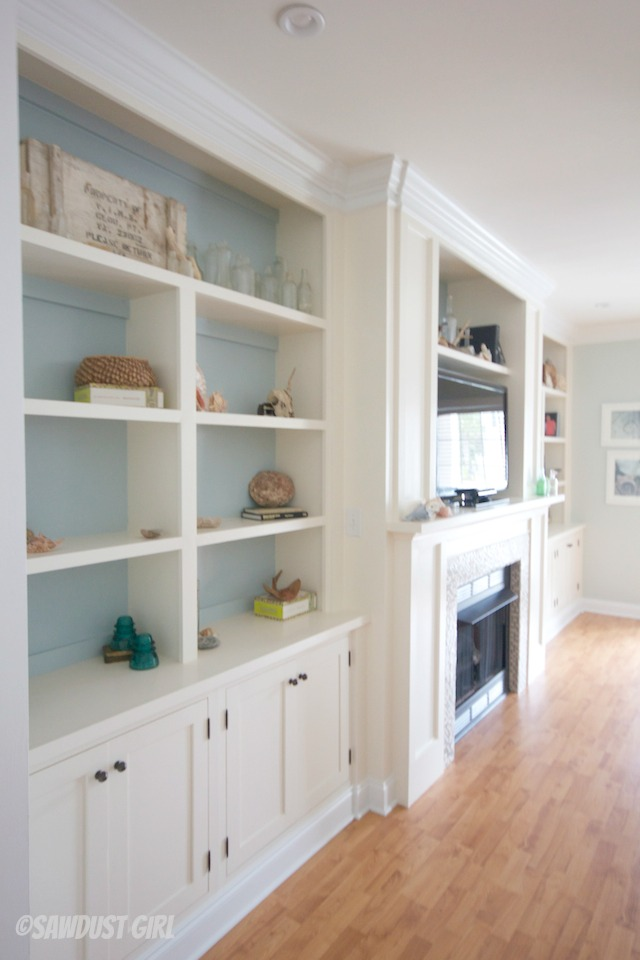 Built In Entertainment Center And Fireplace.