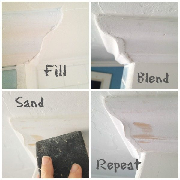 Crown molding can be hard to get perfect. Make it LOOK perfect with lightweight spackle!