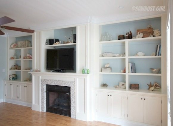 Stunning Built-in Entertainment Center and Fireplace designed by Sawdust Girl