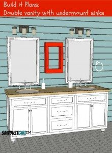 Double Vanity with Center Drawers – Free Plans