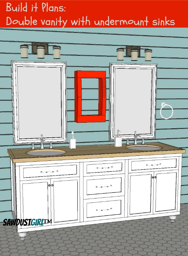 Double vanity with center drawers free plans sawdust girl for Bathroom vanity plans
