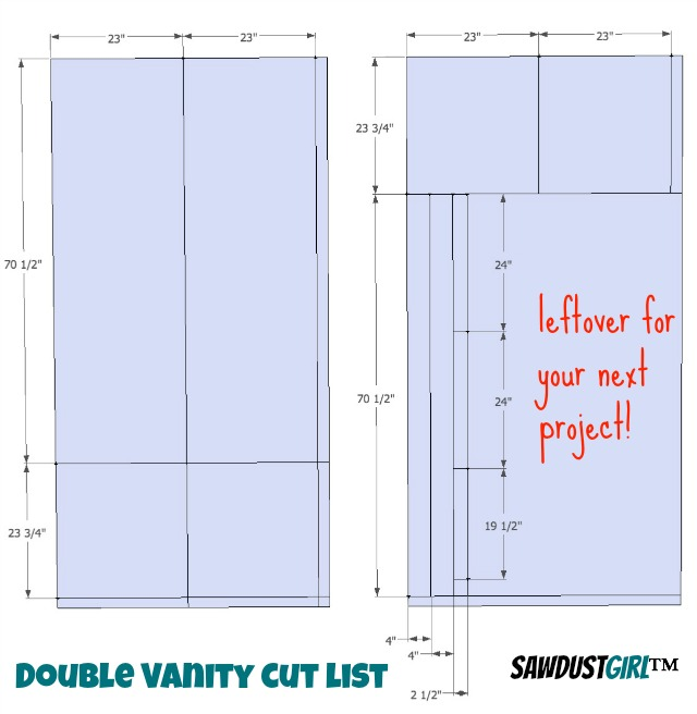 cut list - Double vanity plans,