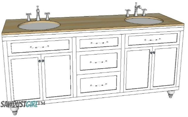 DIY vanity free plans. Double Vanity with Center Drawers   Free Plans   Sawdust Girl